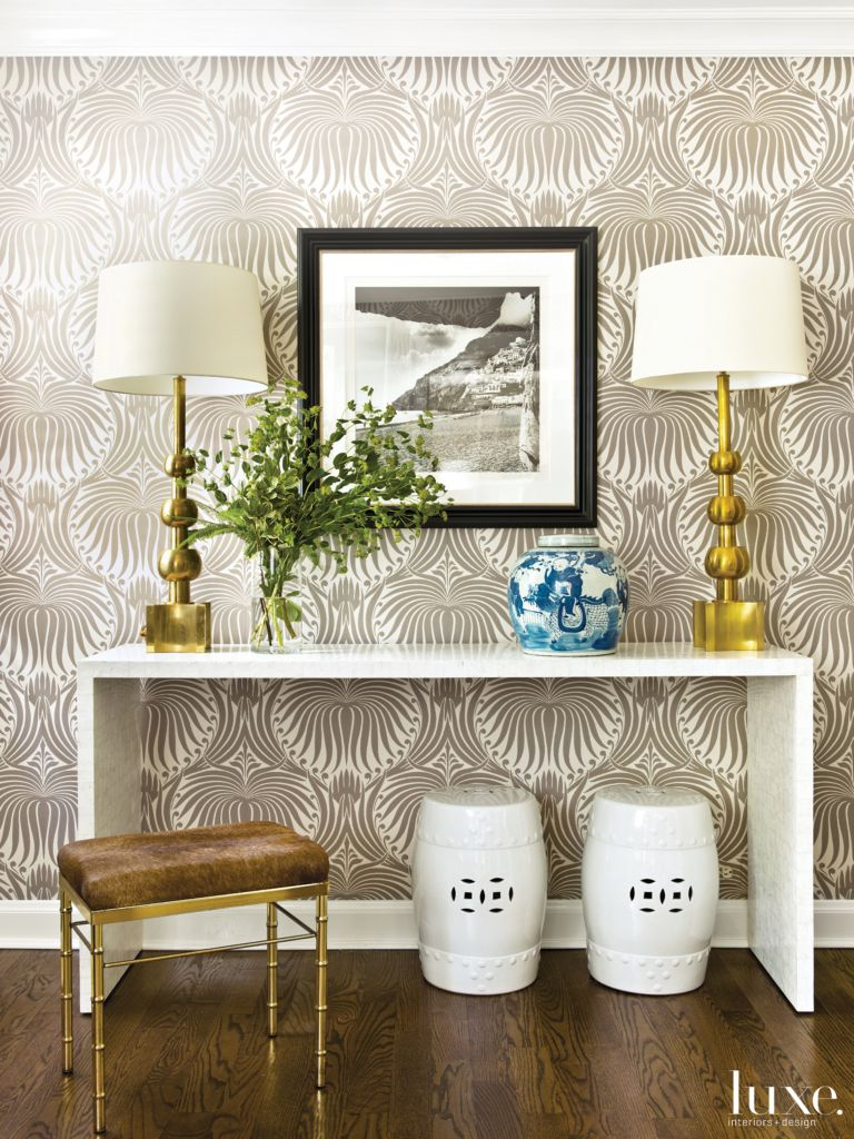 Modern Neutral Foyer With Printed Wallpaper Luxe Interiors