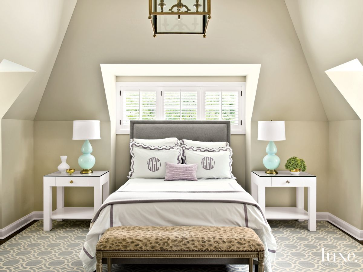 Modern Neutral Bedroom with Monogramed Pillows