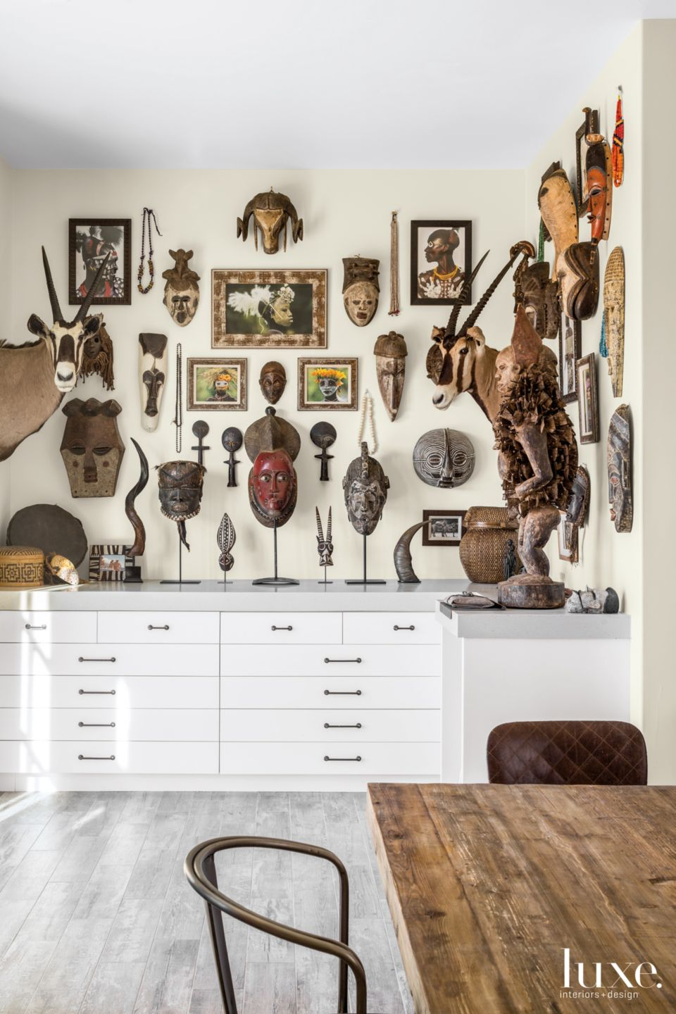 Transitional Neutral Studio with Tribal Masks