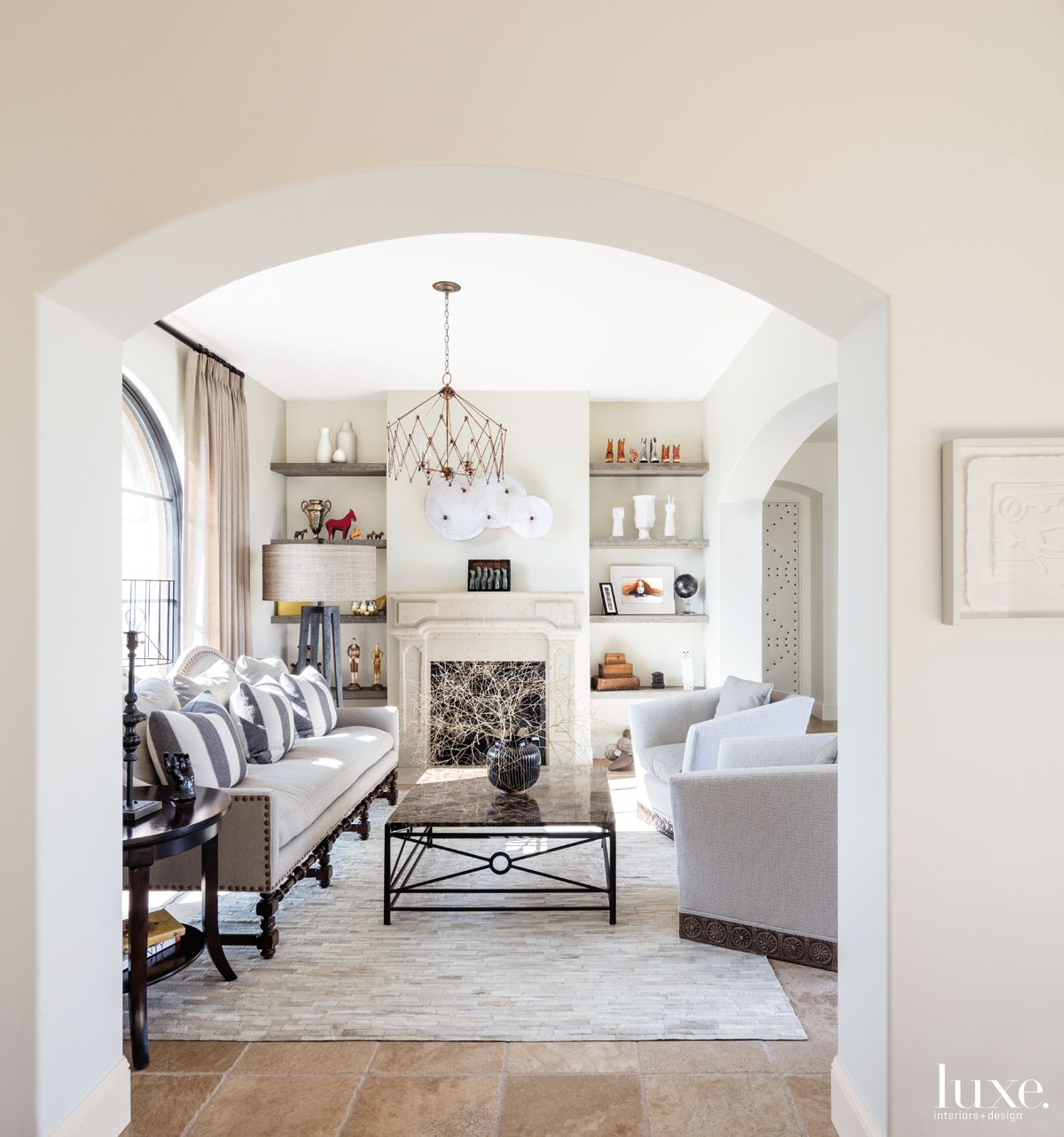 Transitional Neutral Parlor with Monochromatic Furnishings