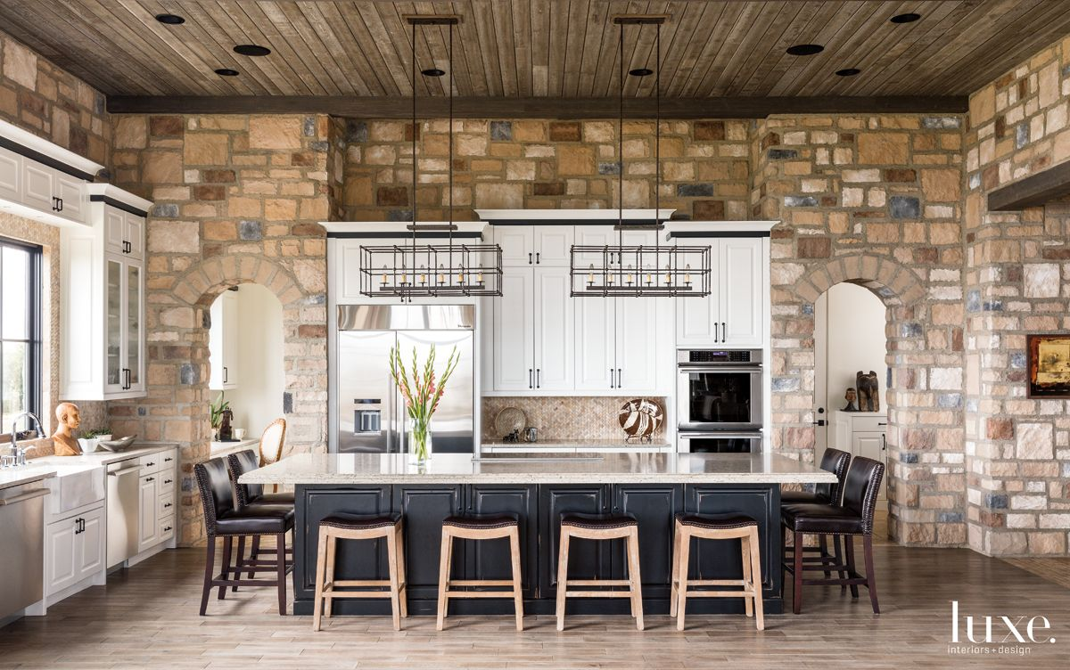 Transitional Neutral Kitchen with Cobblestone Wall