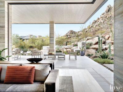 Contemporary Neutral Indoor Outdoor Space With Motorized Door Panels