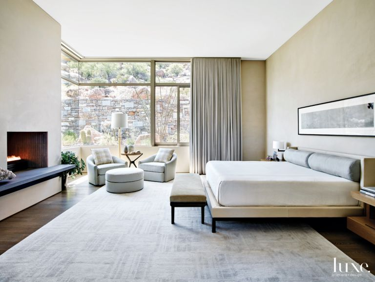Contemporary Neutral Bedroom with Swivel Chairs - Luxe Interiors + ...