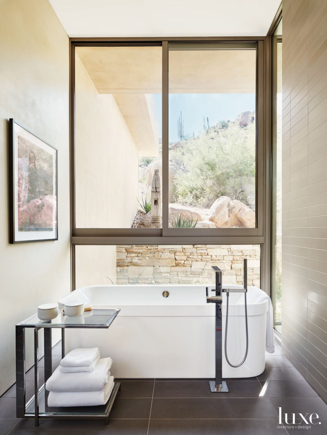 Contemporary Neutral Bathroom with Floor Tub Filler