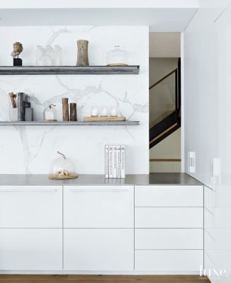 Modern White Kitchen Vignette With Open Shelving