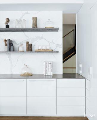 Modern White Kitchen Vignette With Open Shelving