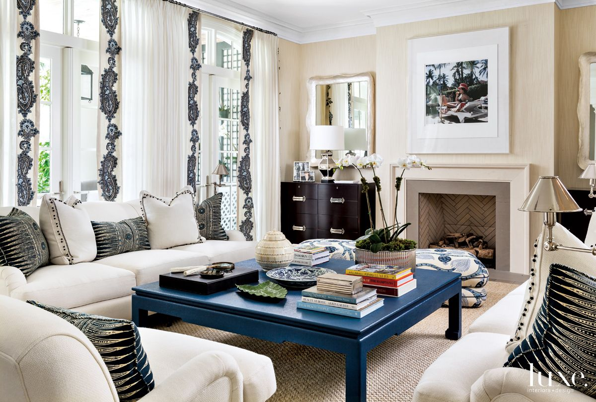 Contemporary Cream Living Room with Custom Blue Coffee Table