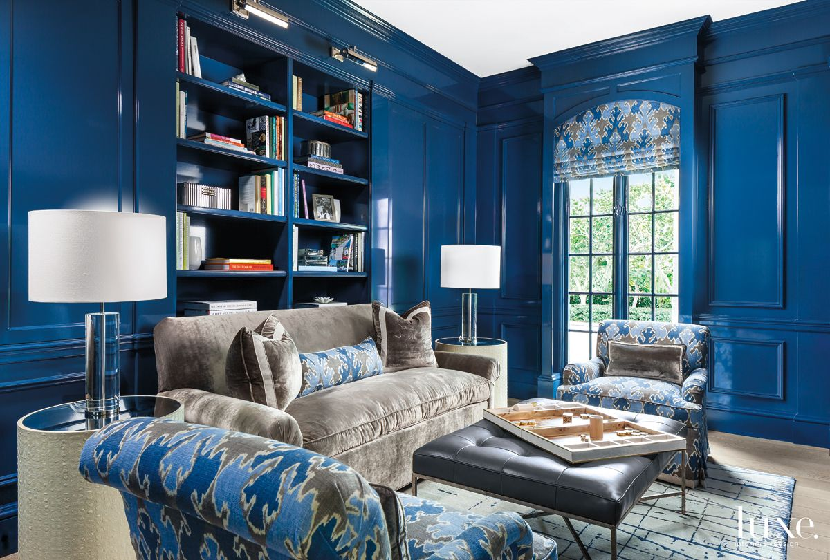 Contemporary Blue Library with Lacquered Walls