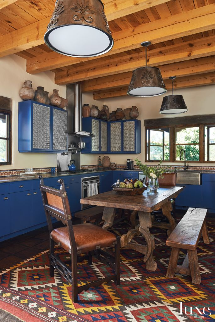 Mediterranean Blue Kitchen With Mexican Tile