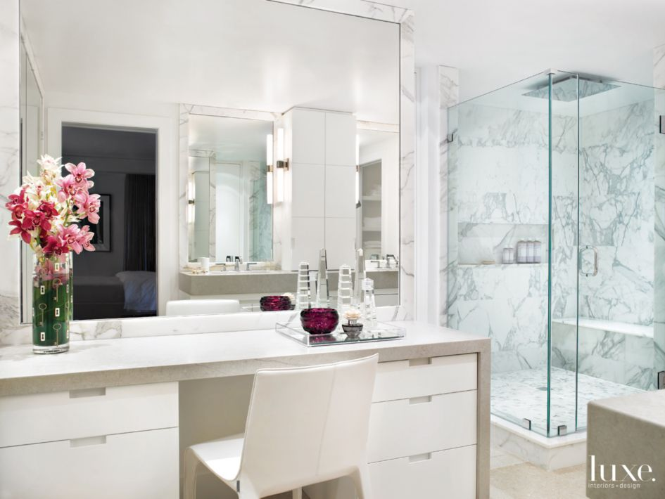 Modern White Bathroom With Makeup Vanity Luource Luxe