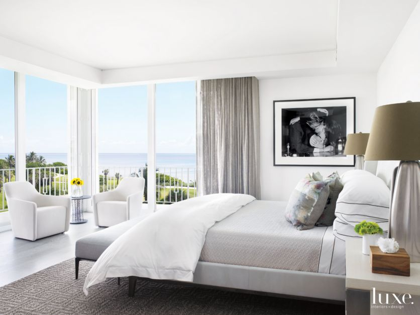 Modern White Bedroom With Black And White Photo Luxe