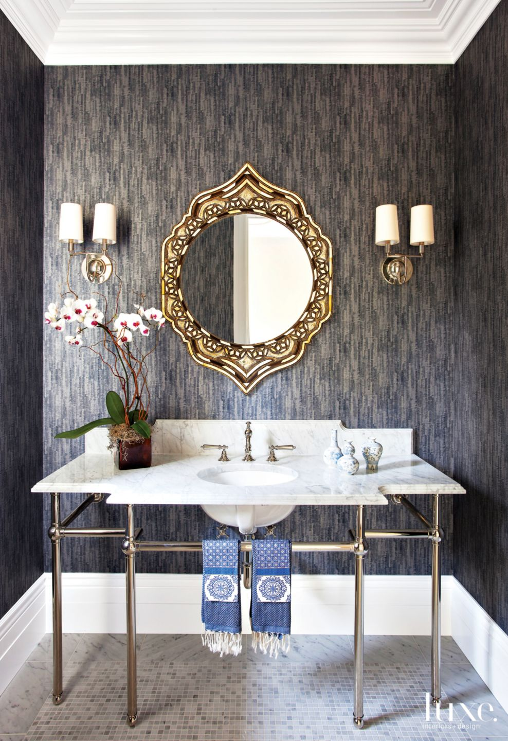 Traditional Gray Powder Room with Handmade Mirror