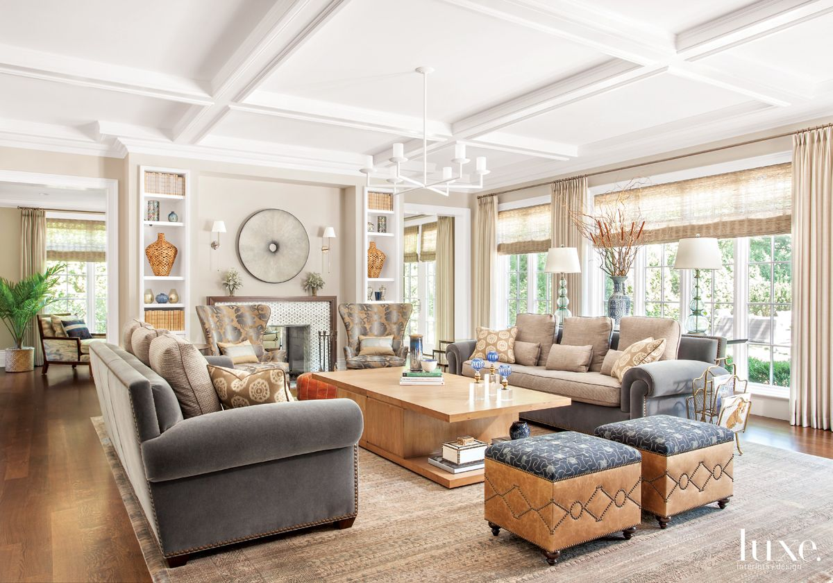Traditional Neutral Family Room with Studded Stools