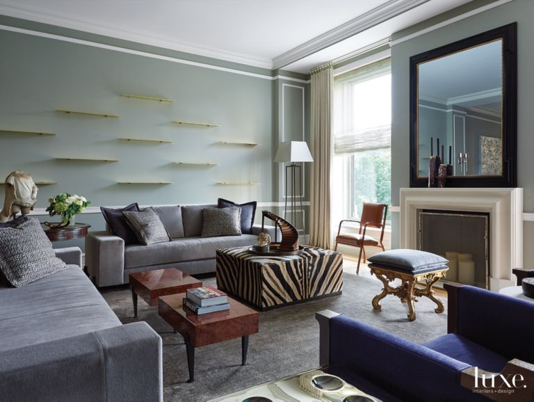 Contemporary Gray Living Room with Zebra Skin Ottoman - Luxe ...