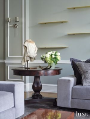 Contemporary Gray Living Room Vignette with Round Table - Luxe ...