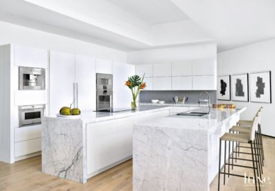 All White Modern Kitchen Modern White Kitchen with Two Islands