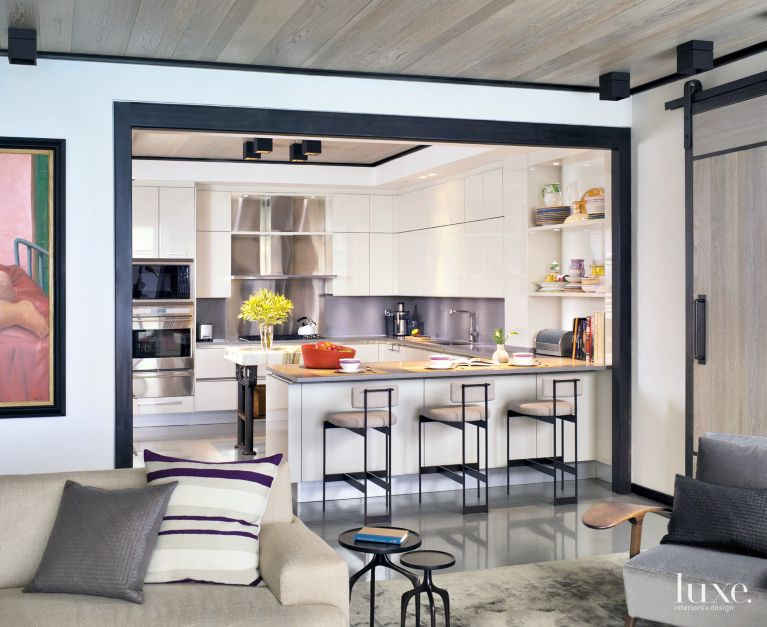 Contemporary White Kitchen With Narrow Island Luxe