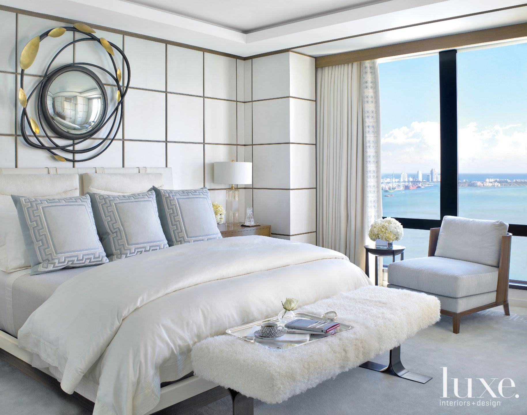 Neutral Modern Master Bedroom with Architectural Mirrior