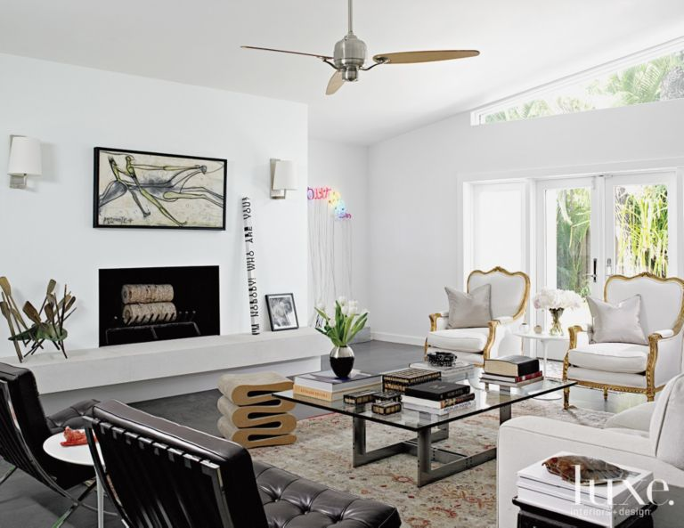White Art Filled Modern Eclectic Living Room Luxe Interiors Design