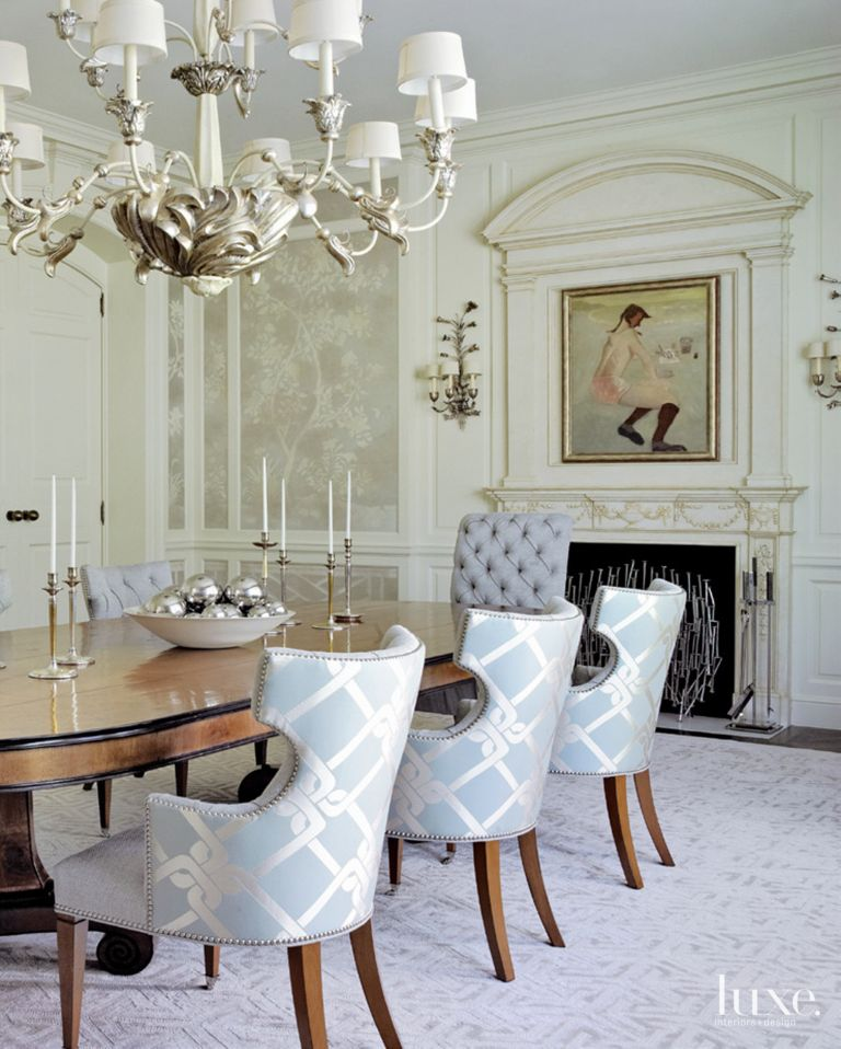 Eclectic cream dining room with lamp shade chandelier luxe related designs aloadofball Gallery