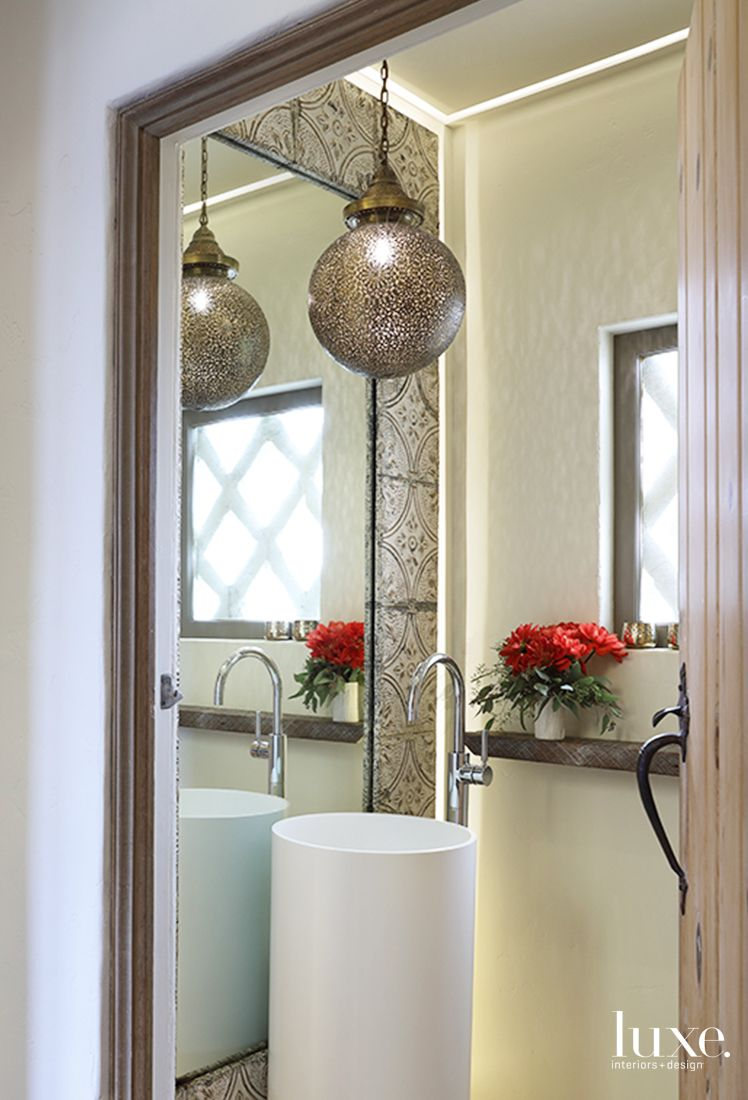 Powder Room with Pierced Morocan Pendant