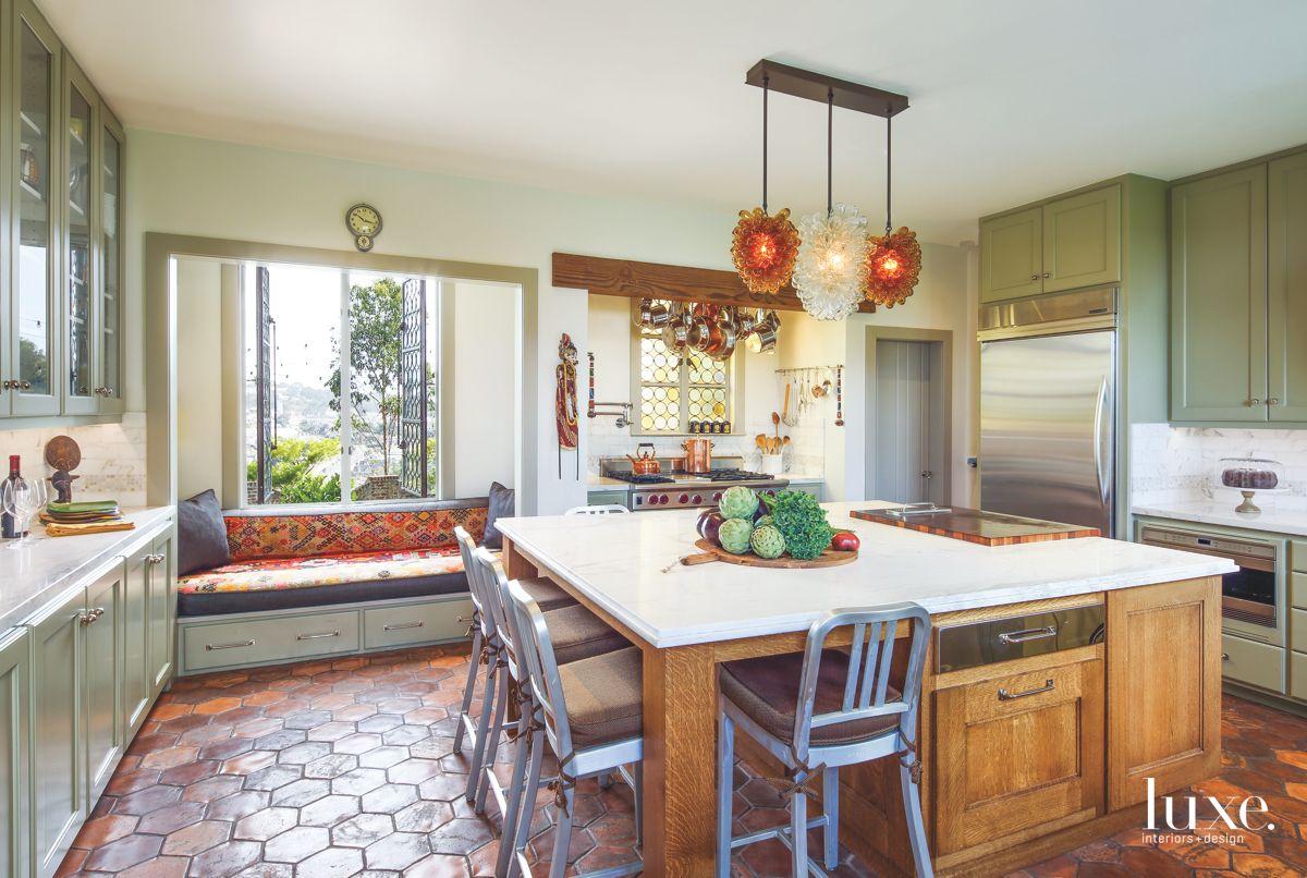 Distinctive Kitchen with Honeycomb Concrete Floor.