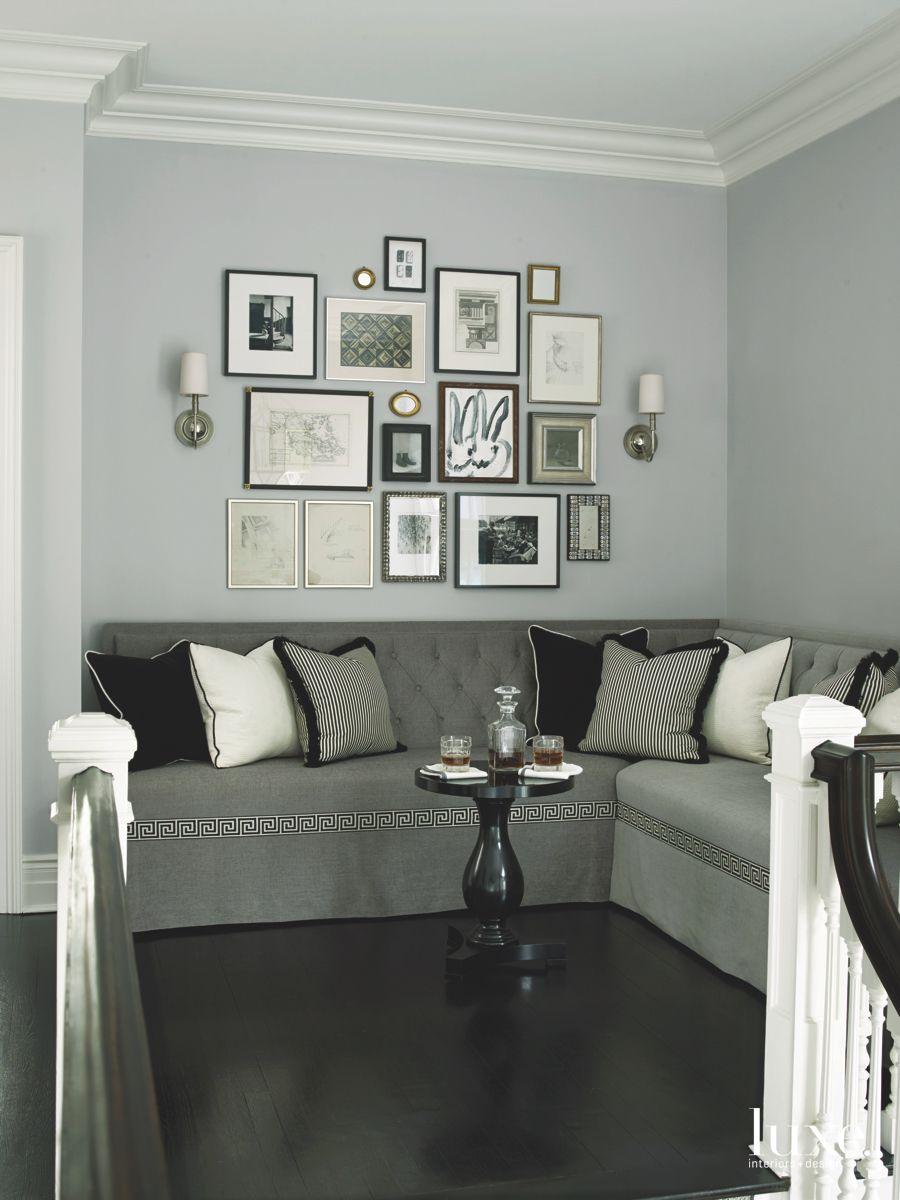 Art Gallery Wall Corner with Mini Bar Table and Sofa