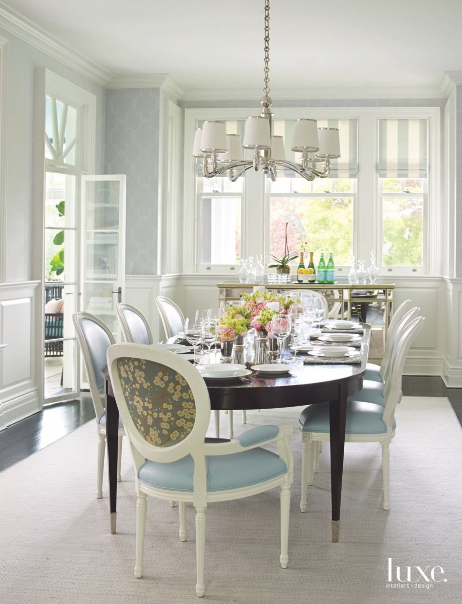 Louix XVI-Style Chairs Dining Room with Pale Blue Aesthetic and Background Bar