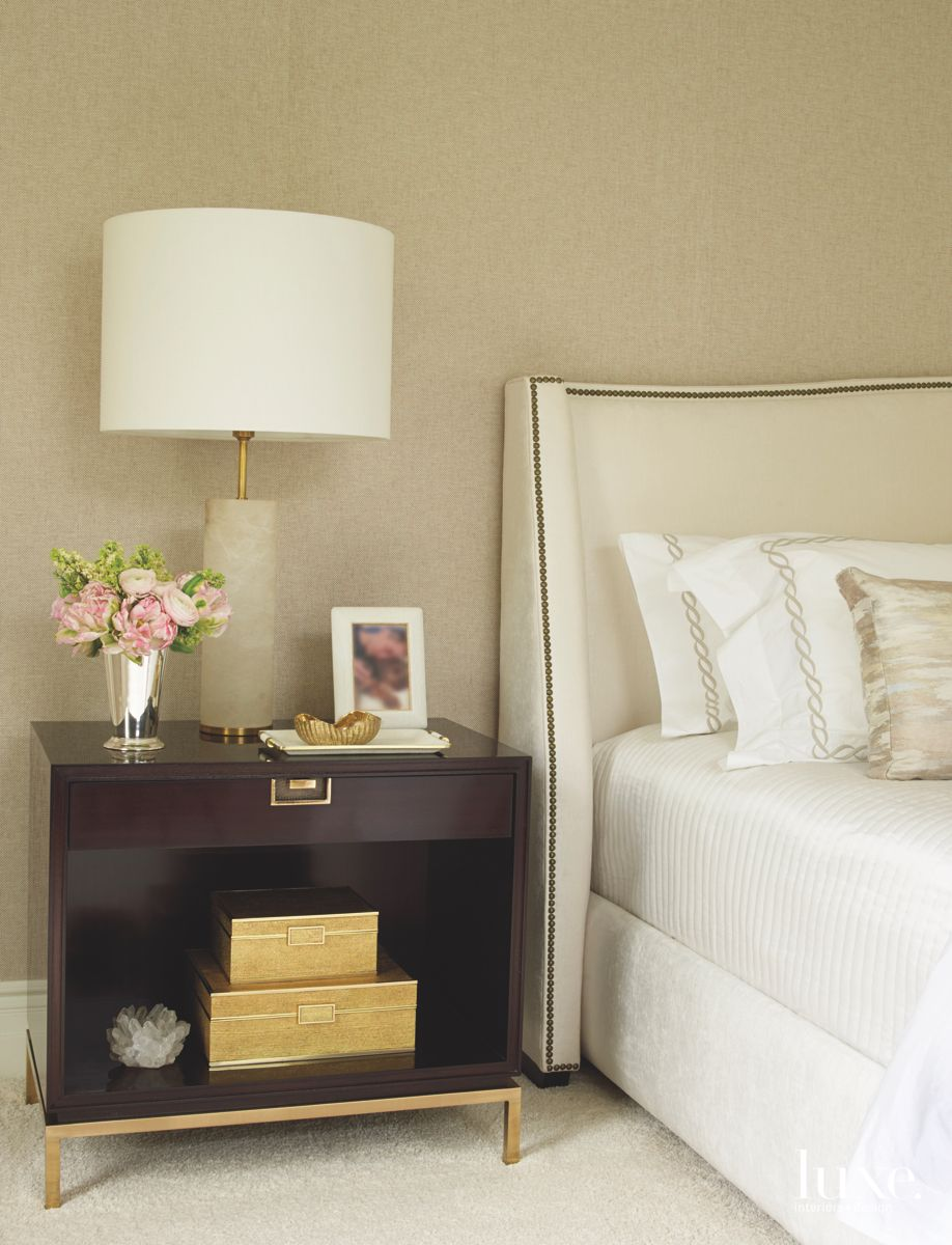 Neutral Beige Master Suite with Brown Nightstand