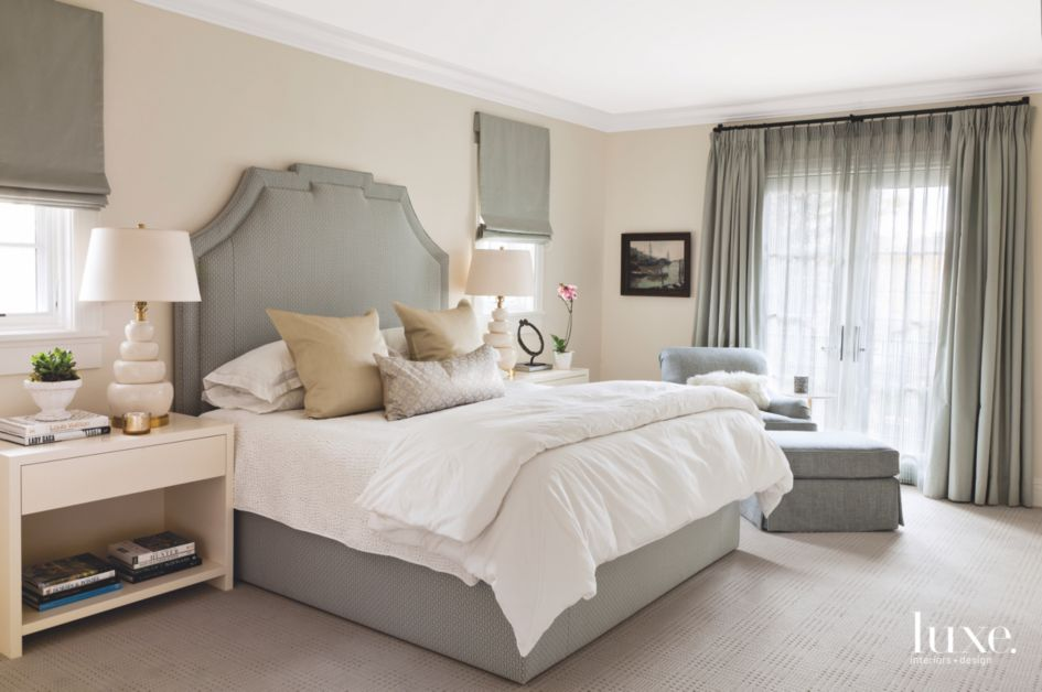 Calm Master Bedroom with Neutral Fabrics and Headboard ...