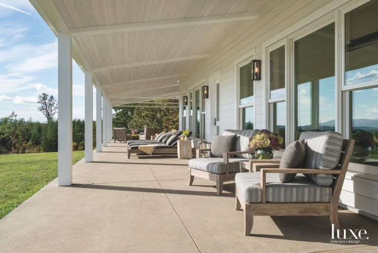 Country Style Covered Veranda With Outdoor Patio Furniture
