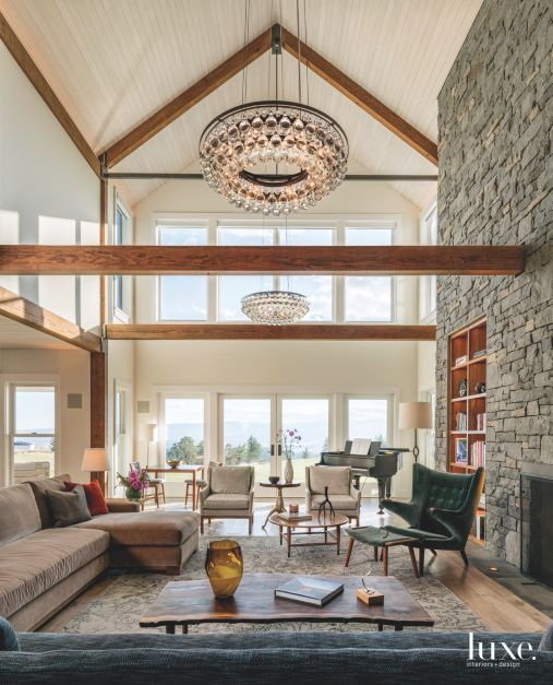Chandelier For High Ceiling Family Room