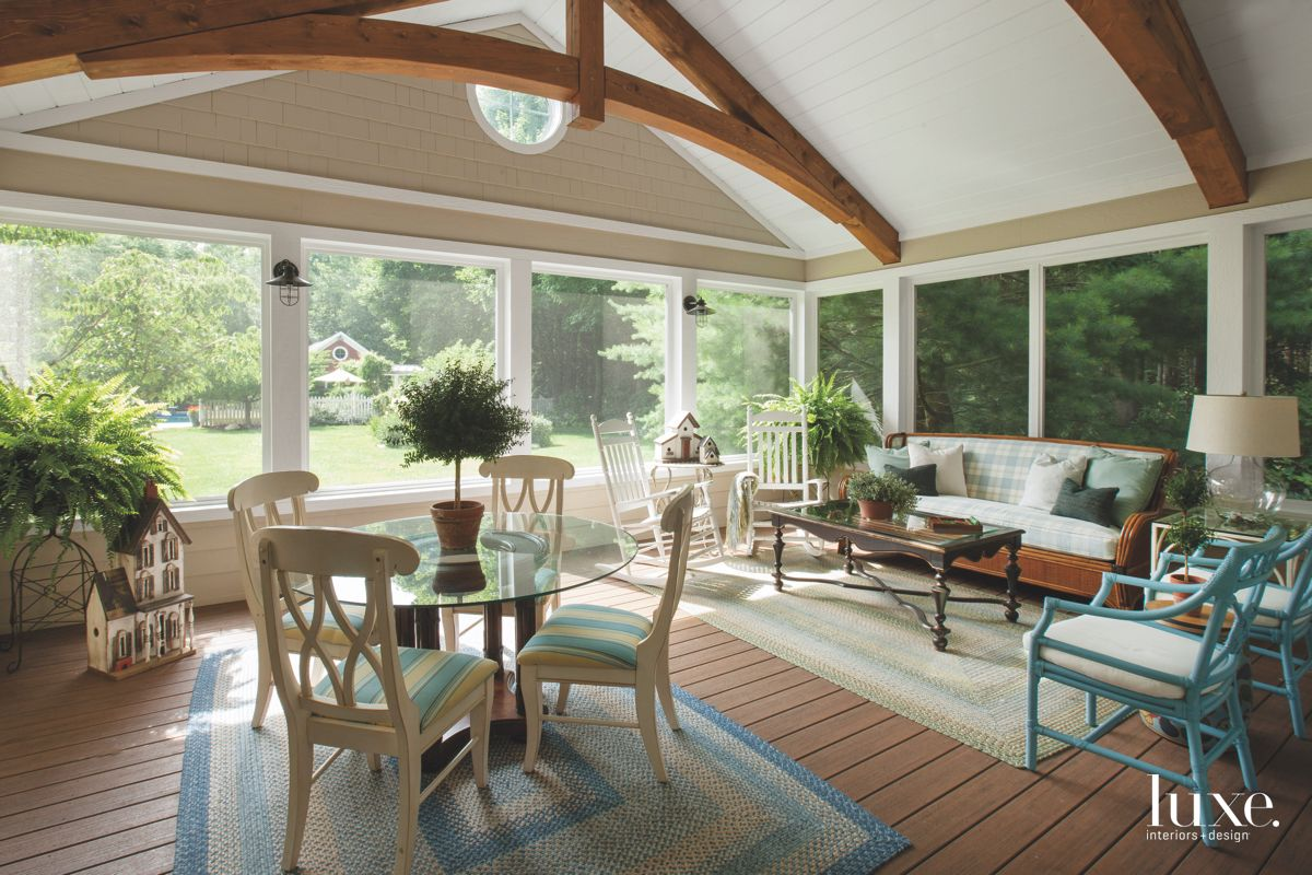 Wood Beam Trusses Sunroom with Bamboo Furniture
