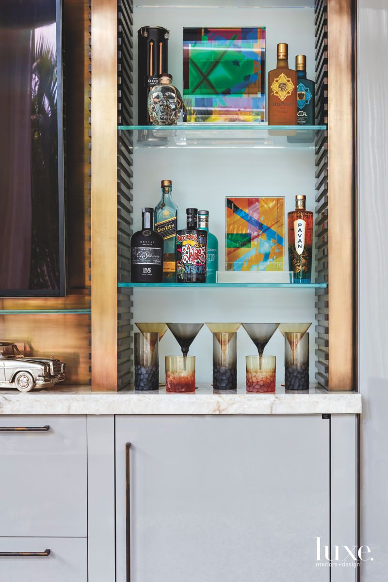 Man Cave Colorful Light Bar with Gray Cabinets