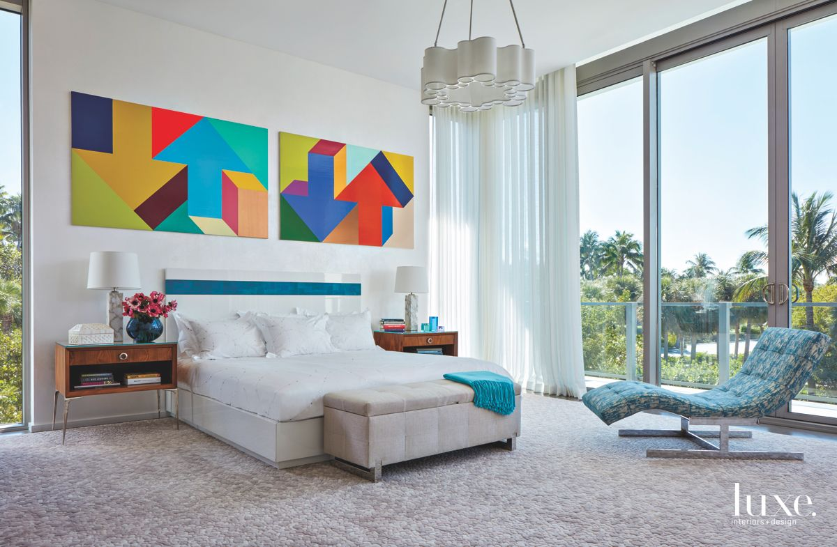 Arrow Artwork Master Bedroom with Palm Tree View and Chaise