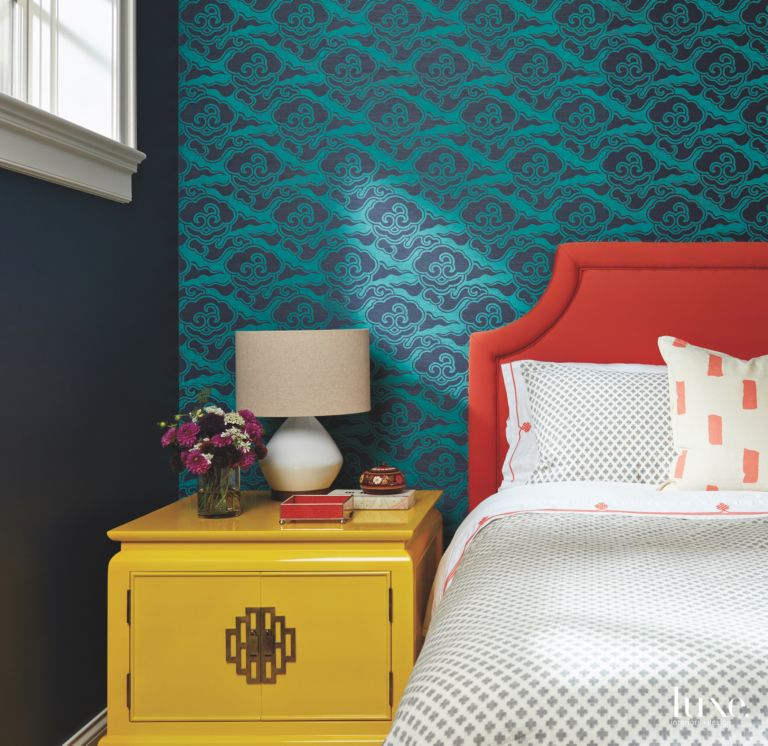 . Master Bedroom Jewel Tone Wallpaper Bed and Dresser   LuxeSource