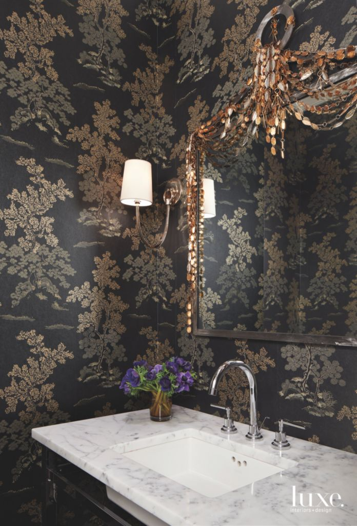 Moody Black Floral Wallpaper Bathroom with Gold Accents and Ornate on vintage bathroom designs, charming bathroom designs, nature bathroom designs, red bathroom designs, fresh bathroom designs, gold bathroom designs, chic bathroom designs, art deco bathroom designs, white bathroom designs, whimsical bathroom designs, square bathroom designs, color bathroom designs, summer bathroom designs, french bathroom designs, painted bathroom designs, unique bathroom designs, sweet bathroom designs, contemporary bathroom designs, organic bathroom designs, gothic bathroom designs,