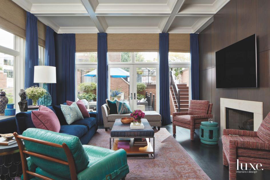 Jewel Tone Living Room with Fireplace, Curtains, and Floor ...