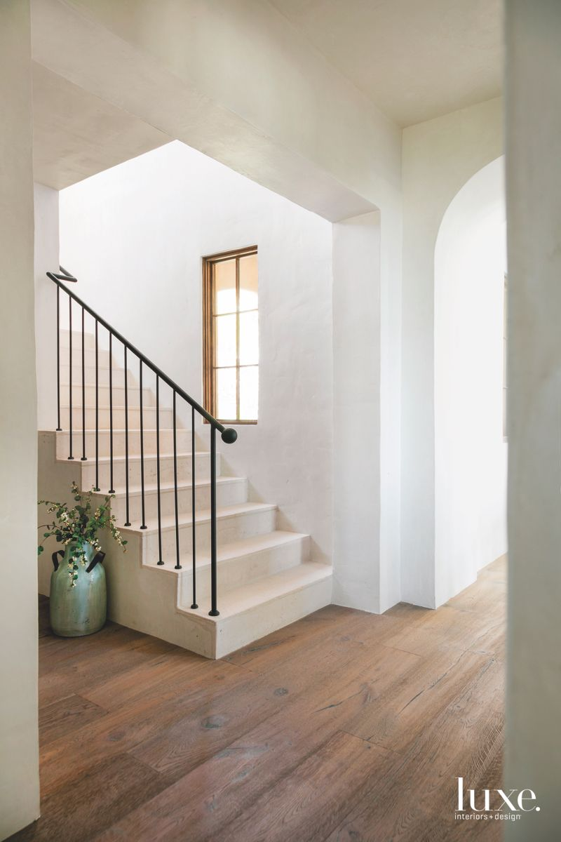 Cream Colored Plaster Hall Staircase