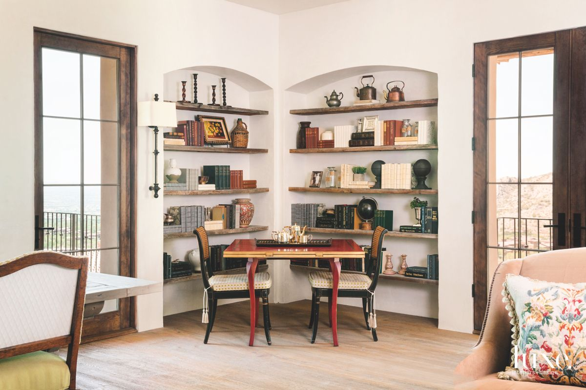 Entertaining Library with Corner Game Table