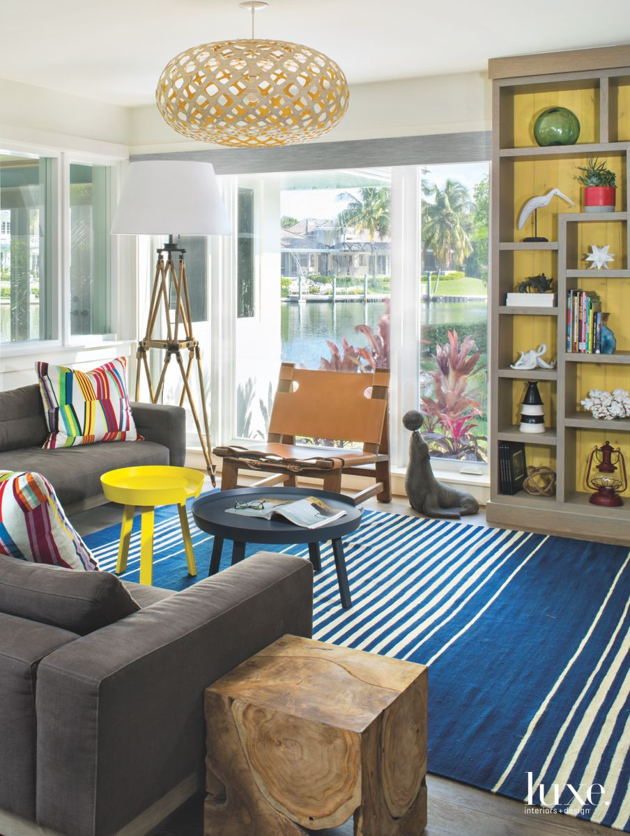 Wide Blue Striped Carpet Family Room with Seal and Ball and Multicolored Pillows