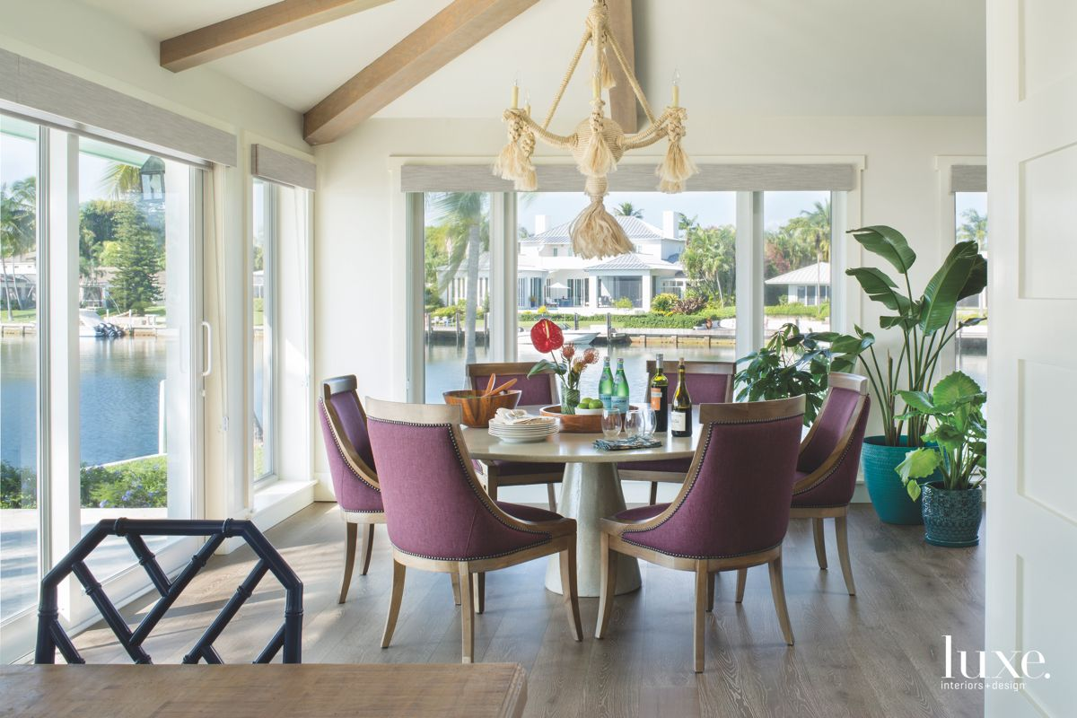 Rope Chandelier with Purple Chair Dining Nook With Water Views