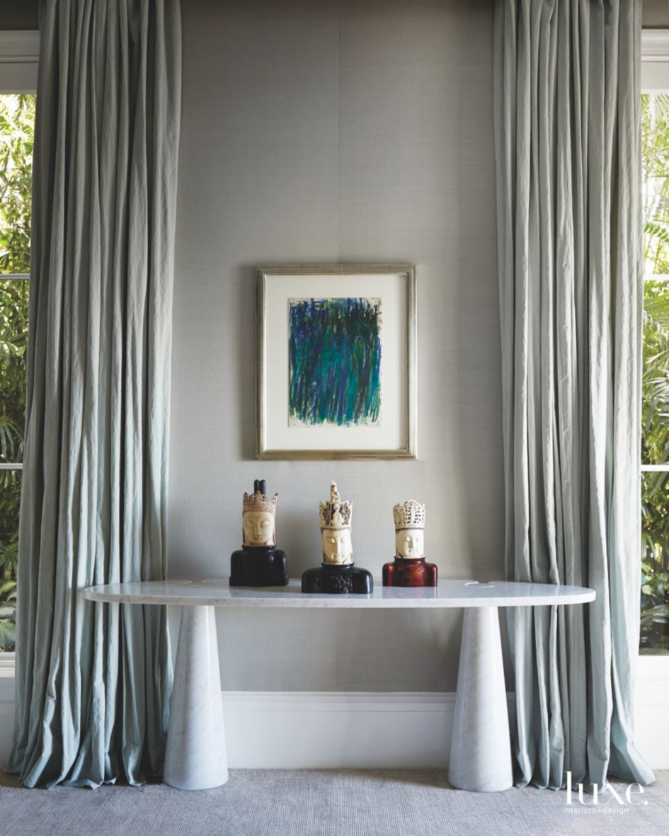 Medium Gray Master Bedroom with Floor to Ceiling Curtains ...