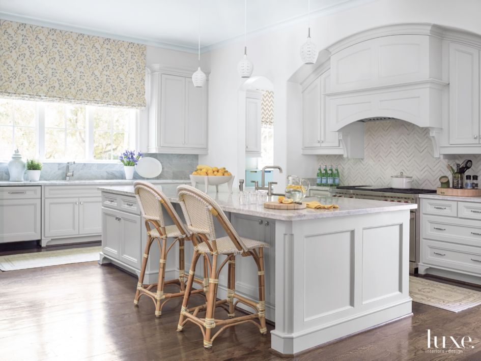 Sensational Transitional White Kitchen With Bistro Style Stools Luxe Pdpeps Interior Chair Design Pdpepsorg