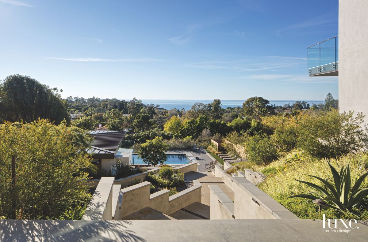 Large Tree Landscape with Pool View and Descending Stairs