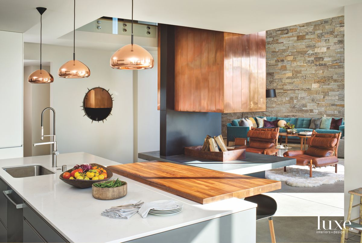 Copper Pendant Lighting Kitchen with Wooden Aspects and Barstools
