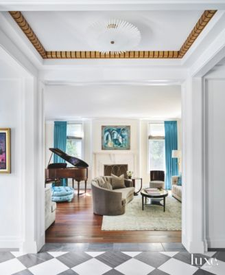 Blue Curtain Living Room With Modern Crown Moulding And Artwork   Luxe  Interiors + Design