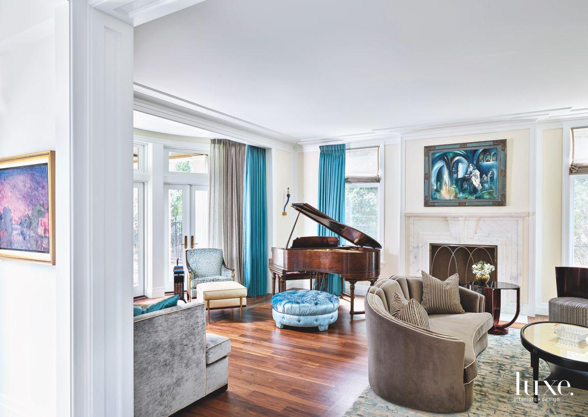 Blue Living Room Corner with Walnut Baby Grand Piano