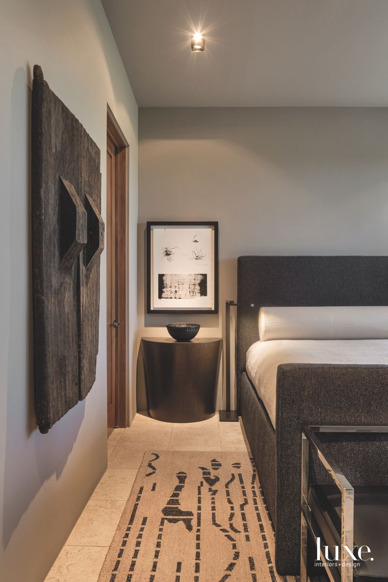 Side Vignette Guest Bedroom with Bali Influences Carpet and Art