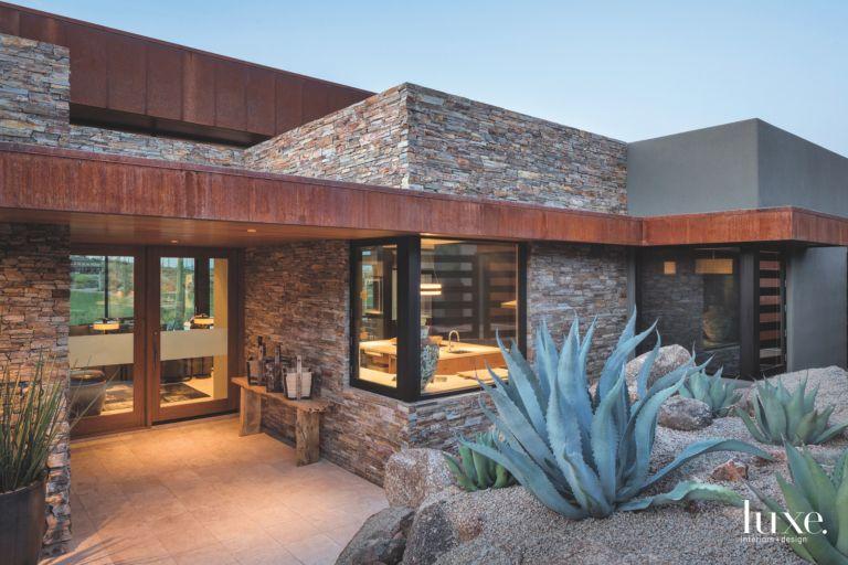 Red Rocks Stone Arizona Contemporary Home Exterior with Cactus Plant ...